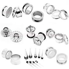 316L Surgical Stainless Steel 3 TYPES, 16 SIZES, EAR FLESH TUNNEL PLUG  BODY J