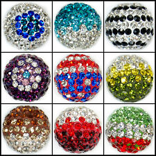 14mm Color Round Ball Pave Crystal Rhinestone Spacer Beads Jewelry DIY Findings