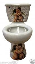 "Mexican Talavera Toilet Set Bathroom Handcrafted ""Angelitos"""