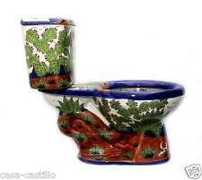 "Mexican Talavera Toilet Set Bathroom Handcrafted ""Rancheros"""