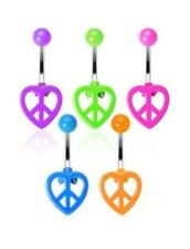 NEON HEART PEACE SIGN BELLY NAVEL RING HINGED BUTTON PIERCING JEWELRY B28