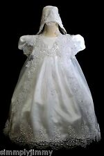 BABY TODDLER GIRLS CHRISTENING BAPTISM GOWN DRESS WHITE Size 18-36Month