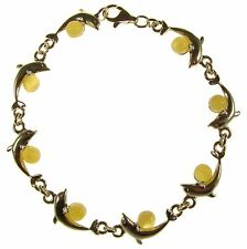 BALTIC AMBER STERLING SILVER 925 LADIES DOLPHIN BRACELET JEWELLERY JEWELRY GIFT