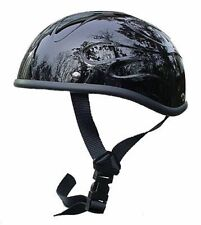 """VOSS NOVELTY MOTORCYCLE HELMET """"GLOSS BLACK FLAME BEANIE"""" - FREE SHIPPING!!"""