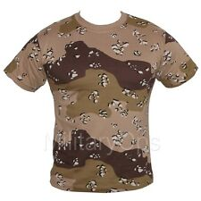 MENS MILITARY CAMOUFLAGE CAMO CHOC CHIP DESER T SHIRT US ARMY COMBAT 100% COTTON