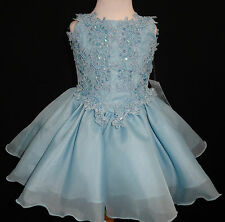 Baby Girl toddler National Glitz Pageant flower ball formal Dress size 1-7 Aqua