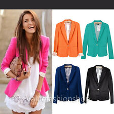 Womens Casual Boyfriend One Button Suit Blazer Turn Back Cuff Jackets Tops 1774