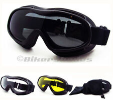 Motorcycle Fits Over RX Glasses Coverover Goggles Smoke Clear Yellow Lens Ski