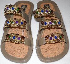 GRANDCO SANDALS Beach Pool SLIDE BLING Taupe Beaded Jeweled DRESSY Flip Flops