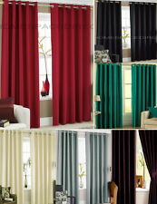 Faux Silk Curtains - Eyelet / Ring Headings with Matching Tiebacks - Fully Lined