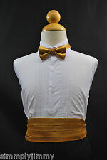 Baby & Boy Teen GOLD Cummerbund / Cumberband & Bow tie for Tuxedo Suit Size S-28