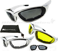 Motorcycle Riding Sunglasses Goggles CHROME Frame Foam Padded Biker Glasses Men