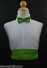 Toddler Boy LIME GREEN Cummerbund Cumberband + Bow tie Set Tuxedo Suit Size S-28