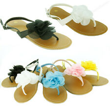 Womens Sandals Cute Ruffle Flower Thongs Flats Sandal Gladiator Style Flip Flops