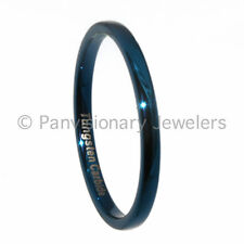 Tungsten Carbide Ring 2MM Dome Blue IP Wedding Band Stackable, Midi, Toe