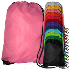 x2 TWIN PACK DRAWSTRING SCHOOL BOOK SPORT GYM SWIM PE BAG BACKPACK - ALL COLOURS