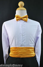 Infant Toddler YELLOW Cummerbund Cumberband + Bow tie BoysTuxedo Suit Sz: S-28