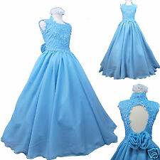 Children Girls National Glitz Pageant Wedding Dance Long Dress Sz 3-14 Blue Aqua