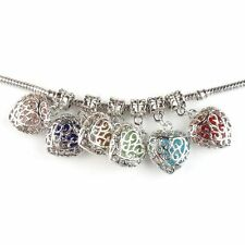 Wholesale Silvery Colorful Charms Heart Alloy Dangle Beads Fit Bracelets Lots