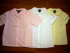 GIRLS PETER PAN COLLAR FRENCH TOAST NEW SCHOOL UNIFORM BLOUSE PINK WHITE YELLOW