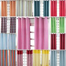 Homescapes Cotton Striped & Checked Curtains Ready Made Eyelet Ring Top 3 Sizes