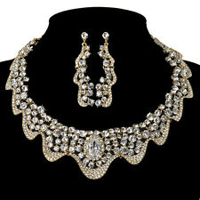 Fashion Shinning Crystal Jewelry Necklace And Earring Sets Best For Ball Party