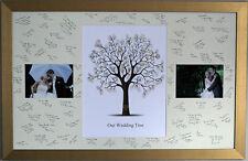 Extra Large Framed Guest Signing Board with Fingerprint Tree & Photos - Wedding