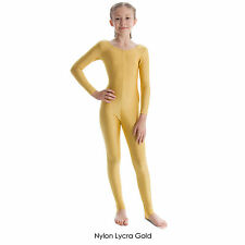 Girls' Long Sleeved Dance Gymnastics Catsuit Shiny Nylon Lycra Children's NEW