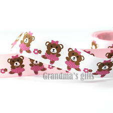 "1""25mm Lovely Bear Printed grosgrain ribbon 5/50/100 yards hairbow Wholsale"