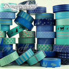 Paper Washi Masking Tape Adhesive Roll Decorative Card Craft Trim BLUE Set