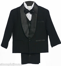 NEW BOYS CHILDREN WEDDING FORMAL PARTY BLACK TUXEDO SUIT Sz: S L XL 2T3T4T 5 -10