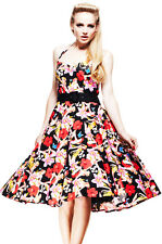 HELL BUNNY HAWAII FLORAL ROCKABILLY PIN UP 50'S SWING DRESS 8-16 PROM WEDDING