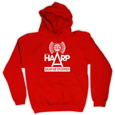 PROJECT HAARP MUST BE STOPPED CONSPIRACY HOODED JUMPER TOP HOODIE ALL COLS SIZE