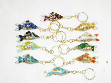NEW CLOISONNE GOLD KOI FISH PENDENT CELL CHARM KEY CHAIN RING 10 CHOICES LUCKY