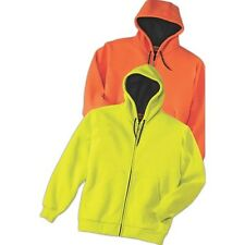 Mens Size NEW XS-6XL Thermal Lined Heavy Full Zip Hooded Safety Jacket HIGH VIS