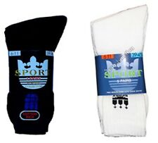 MENS SPORTS SOCKS BLACK or WHITE SIZE 6 - 11 Superior quality Multi Pack Cotton