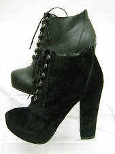 "Ladies Spot On Black Lace Up Ankle Boots with Hidden Platform 4.5"" Heel F5907"