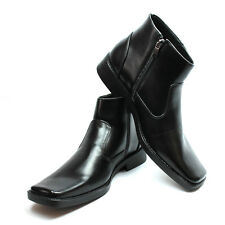 New Men's Dress Boots Black Square Toe Side Zipper Ankle Boot Leather Lining