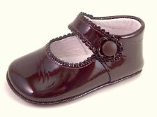 DE OSU Spain -  Baby Girls Brown Patent Leather Dress Crib Shoes DO-153 - Euro