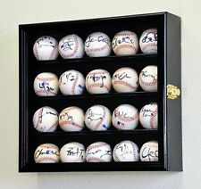 20 Baseball / Hockey Ball Puck Display Case Cabinet Holder Rack MLB 98% UV DOOR