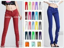 Womens Stretch Candy Pencil Pants Casual Slim Fit Skinny Jeans Trousers Jeggings