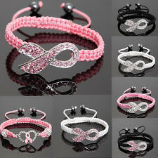 Shamballa Crystal Pink Ribbon Breast Cancer Awareness Bracelet Gift