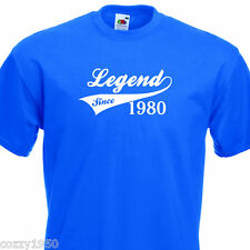 LEGEND SINCE 1980, FUNNY MENS TSHIRT 34th BIRTHDAY PRESENT 7 COLOURS 6 SIZES