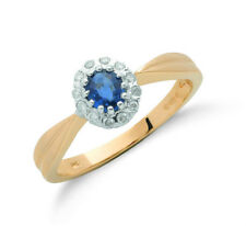 9k Yellow Gold Diamond & Sapphire Cluster Ring - British made - hallmarked