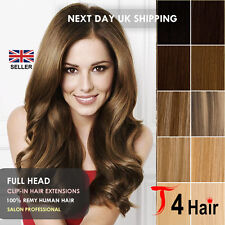 Clip In Remy 100% Real Human Hair Extensions Full Head Set UK Seller