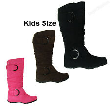 Girls Kids Boots Knee High Faux Suede Flat Boot Fashion Slouch Stylish Shoe Size