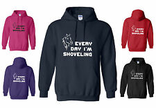 NEW ADULT FUNNY HORSE HOODY, EVERY DAY I'M SHOVELING S-XXL RED/BLACK+ GLITTER