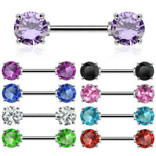 "1 Pair of  CZ Nipple Rings 14g Gauge 9/16"" Bar"