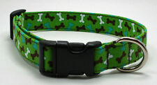 Handmade Custom Designer Dog Bones on Green Dog Collar