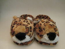 NEW WOMENS LEOPOLD HOUSE SLIPPERS SIZE:S-M-L-XL YELLOW W/BROWN SP WARM SOFT CUTE